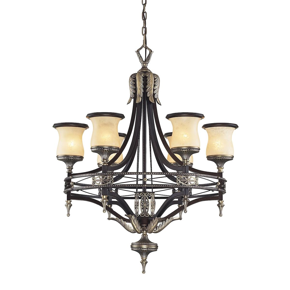 Georgian Court 31 Inch 6 Light Chandelier